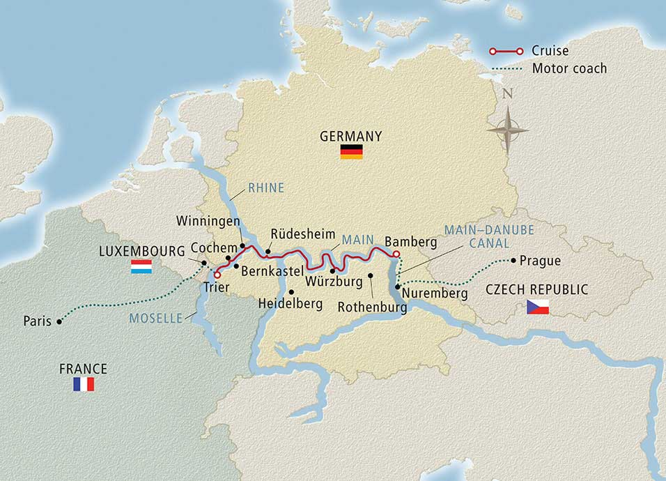 Itinerary map of Cities of Light Prague to Paris