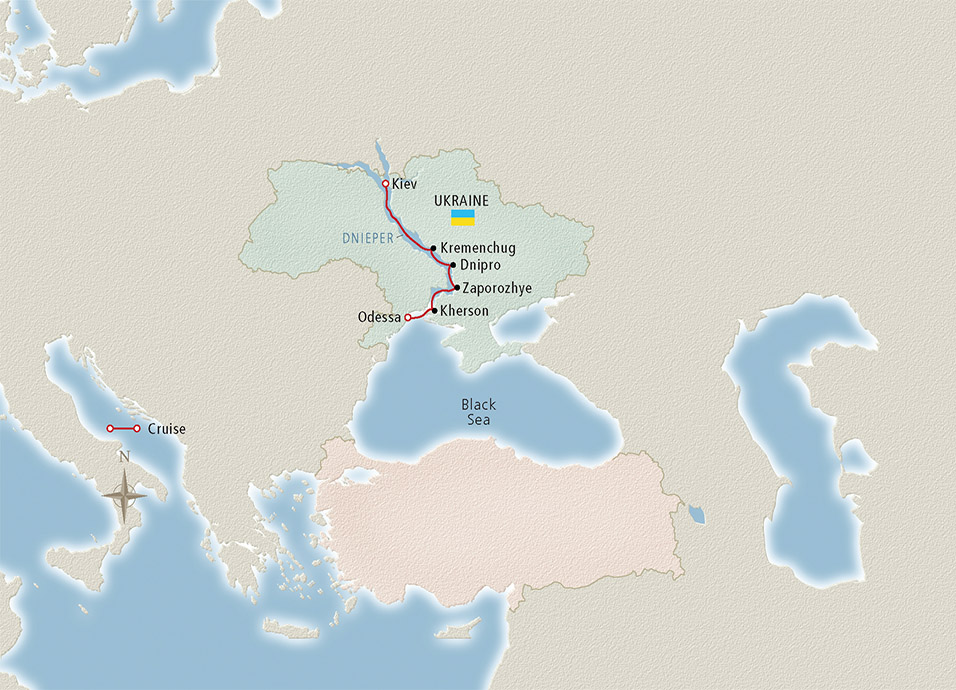 Itinerary map of Kiev to the Black Sea Kiev to Odessa