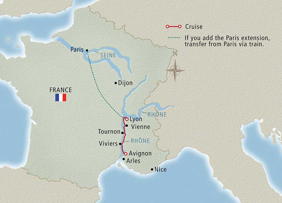 Itinerary map of Lyon & Provence Lyon to Avignon>