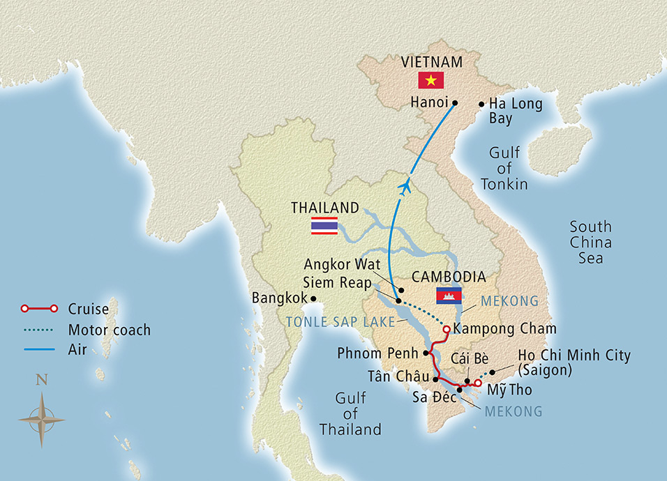 Itinerary map of Magnificent Mekong Ho Chi Minh City to Hanoi