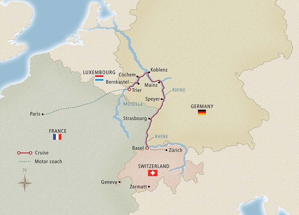 Itinerary map of Paris to the Swiss Alps Zurich to Paris