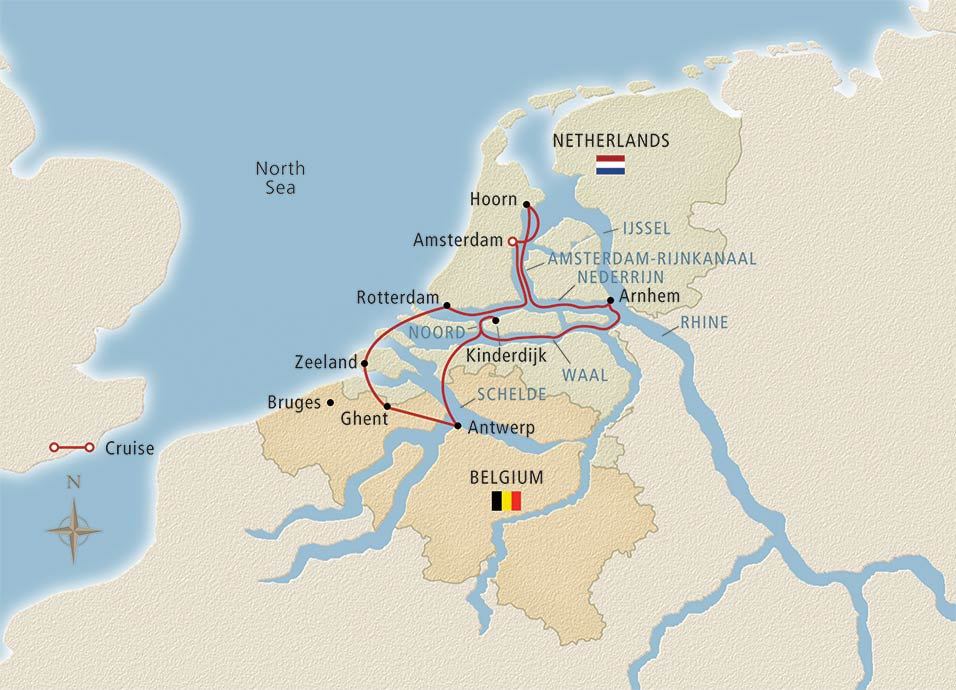 Itinerary map of Tulips & Windmills Amsterdam to Amsterdam
