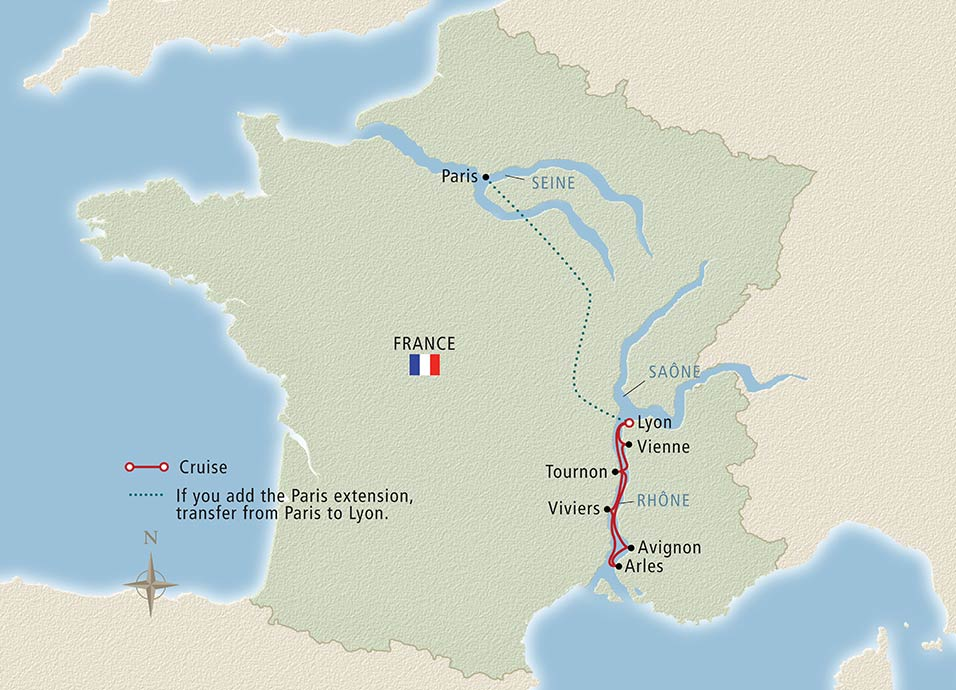 Itinerary map of Rhone Explorer Lyon to Lyon