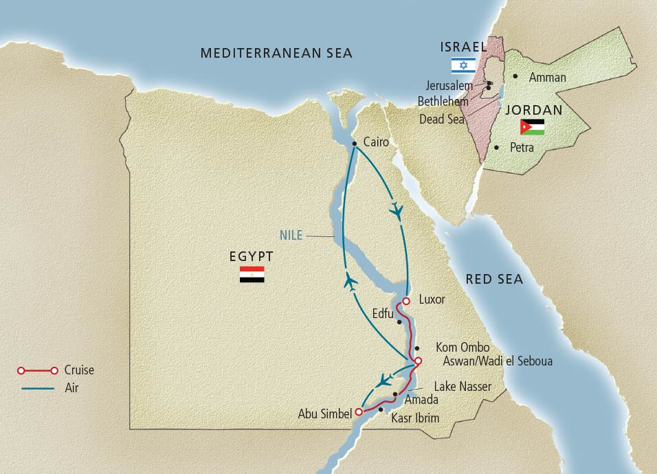 Itinerary map of Pharaohs & Pyramids Cairo to Cairo