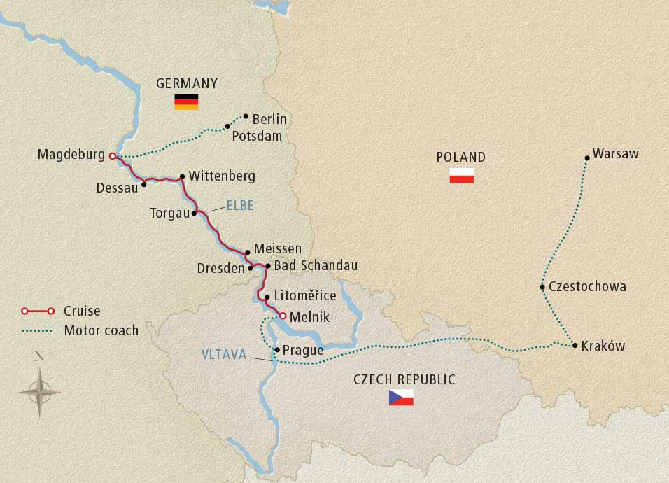 Itinerary map of Poland, Prague & the Elegant Elbe Berlin to Warsaw