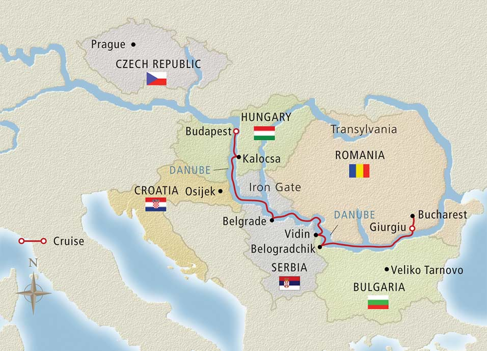 Itinerary map of Passage to Eastern Europe Bucharest to Budapest>