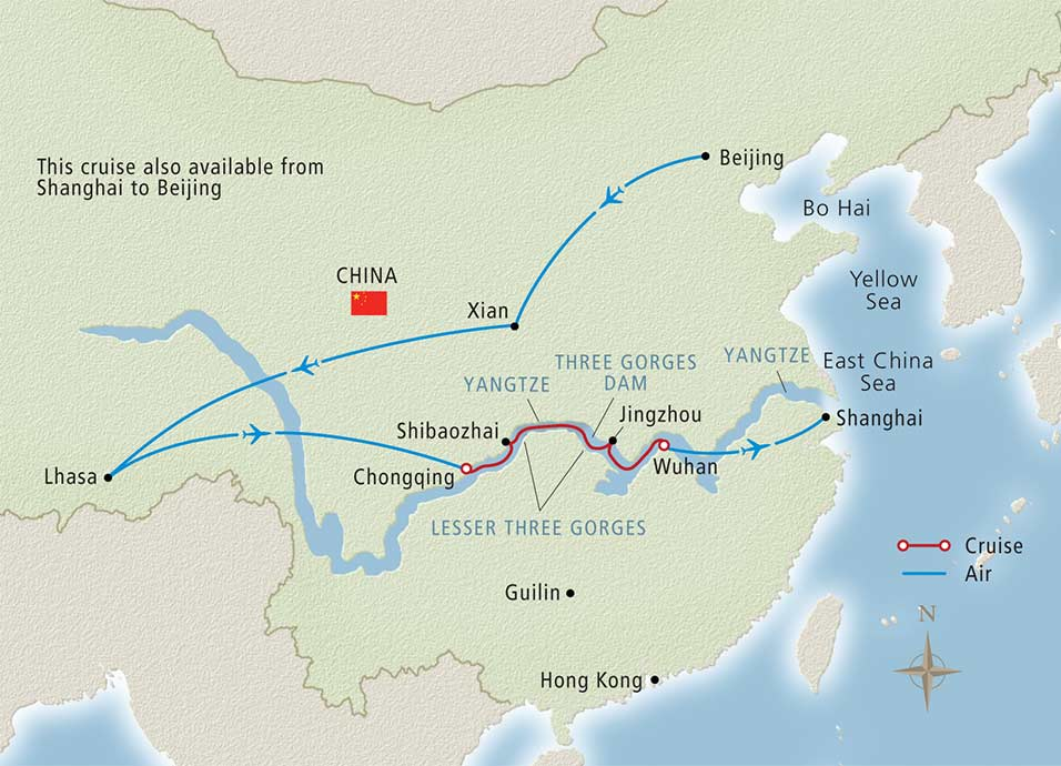 Itinerary map of Roof of the World Beijing to Shanghai