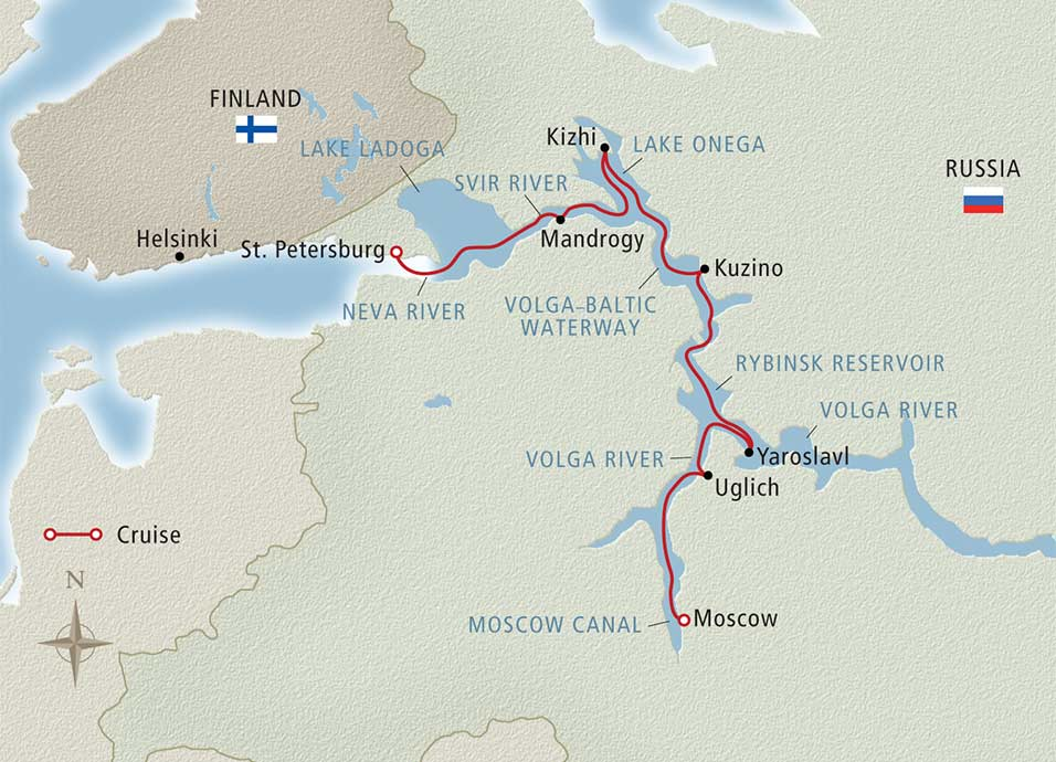 Itinerary map of Waterways of the Tsars St. Petersburg to Moscow