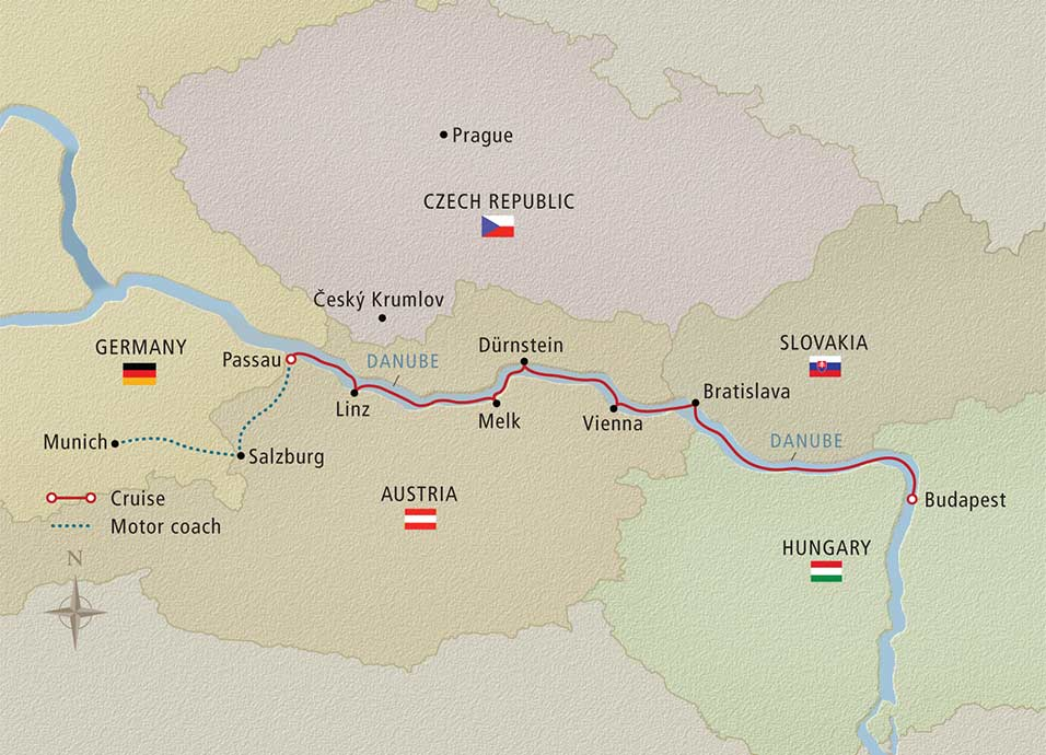 Itinerary map of Castles & Legends Munich to Budapest
