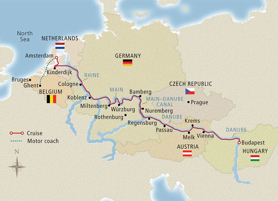 Grand european tour belgium ghent to budapest viking river itinerary map of grand european tour belgium ghent to budapest gumiabroncs Images