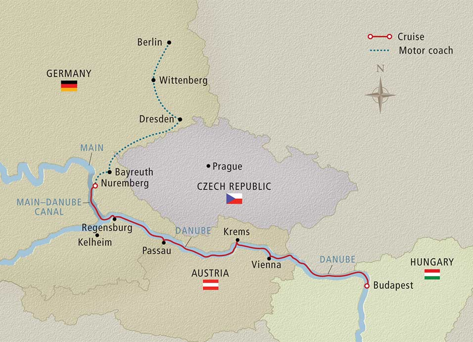 Itinerary map of Imperial Cities of Europe Berlin to Budapest