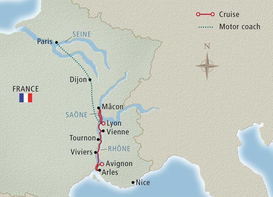 Itinerary map of Paris, Burgundy & Provence Lyon to Avignon