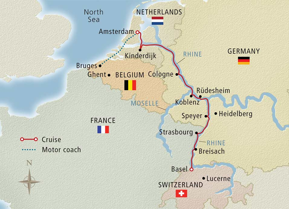 Itinerary map of Rhineland Discovery Bruges to Basel