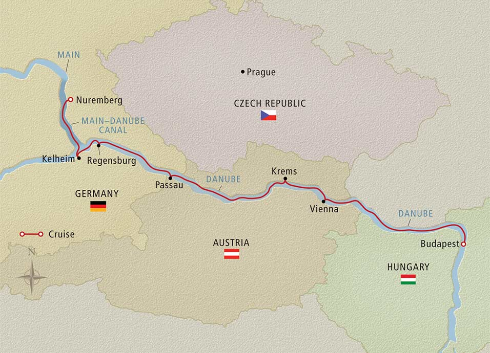 Itinerary map of Romantic Danube Nuremberg to Budapest