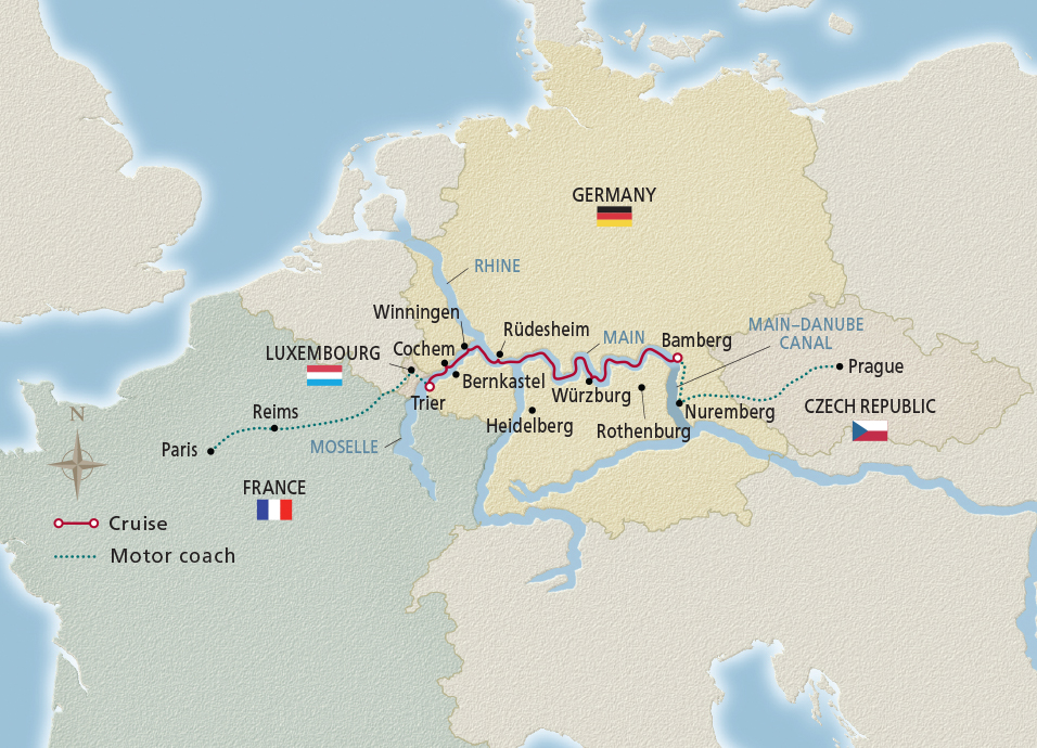Map of Cities of Light itinerary