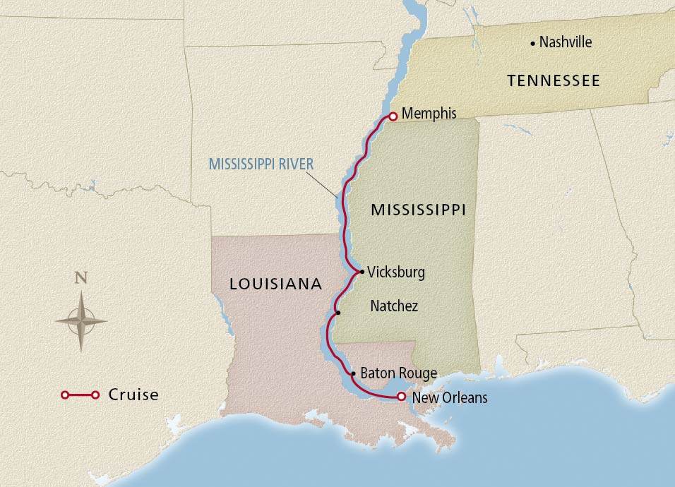 Map of the Mississippi Holiday Season itinerary
