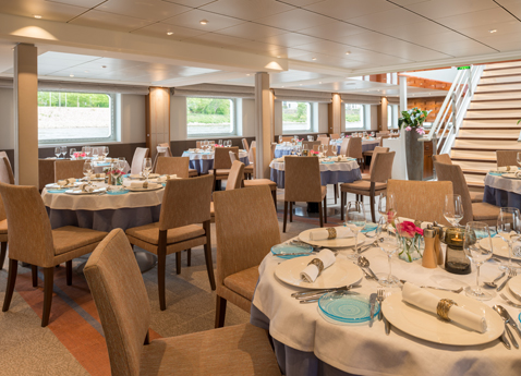 Restaurant dinning area on board Viking Beyla