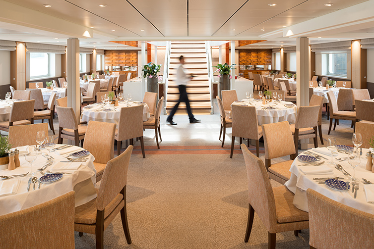 Restaurant dining area on board Viking Beyla