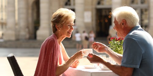 Couple having afternoon tea in Bordeaux