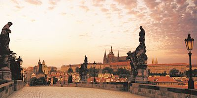 A view of Prague, Czech Republic at sundown