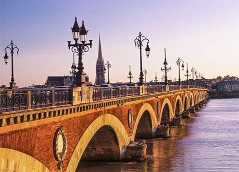 Pont de Pierre at sunset Bordeaux, France