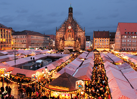 Aerial view of a Christmas market in Nuremberg, Germany