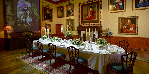 A dining room in Highclere Castle