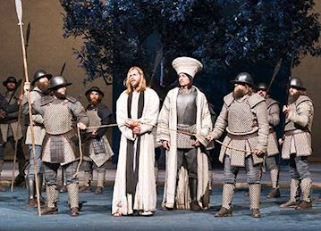 Scene from performance of The Passion Play in Oberammergau, Germany