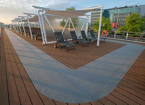 The sun deck of a Viking river ship