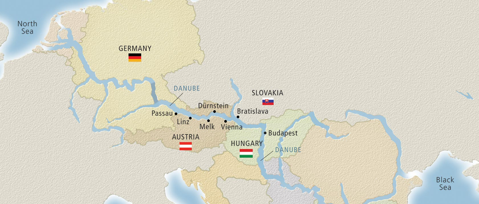 Map of the Danube river in Europe
