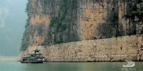 Ship sailes by Three Gorges Dam in China