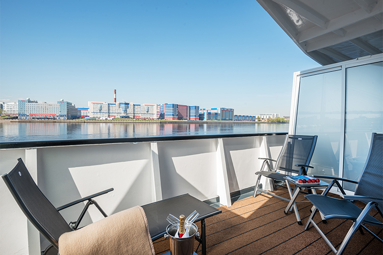 View from Explorer Suite balcony on board Viking Russia vessels