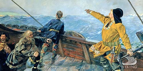 Leif Erikson Discovers America by Christian Krohg