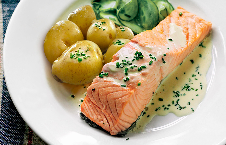 A salmon dish on a plate