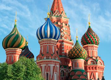 Photo of onion domes of Saint Basil's Cathedral in Moscow, Russia