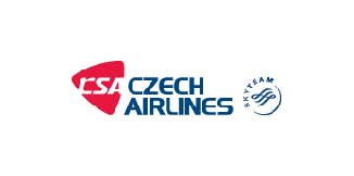 Czech Airlines logo in red and blue on a white background.